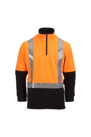 Hi Vis Fleece Pullover Taped Orange Black