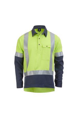 Hi Vis Long Sleeve Closed Front Shirt Yellow Navy