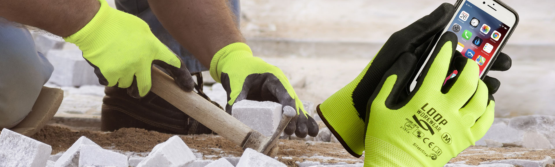 Touchscreen Work Gloves - Hi-Vis Safety gloves work with your iPhone. Part of Antiviral PPE range